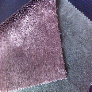 2014 new function fabric micro polyester velvet plush fake fur bonded with suede for snow boot, winter coat