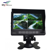 "7 inch bus TV monitor with 4 channels video input , 7"" quad display car monitor , 7 inch car bus security system"