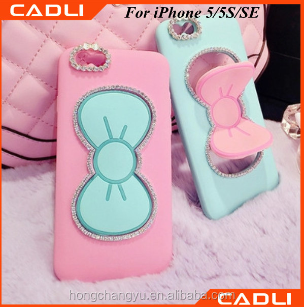 cell phone case factory supply diamond phone case with stand for iphone 5 5s se