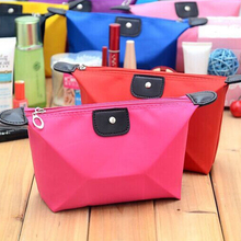 Promotional Gift Cheap Candy Color Nylon Foldable Travel Pouch Waterproof Cosmetic Bag