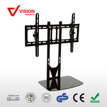 Modern height integrated cable management tempered glass 3D LED LCD TV mounting bracket with DVD Wall Shelf Brackets