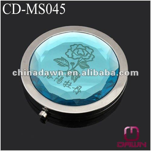 Blue Crystal Metal Makeup Mirror with Flower Logo CD-MS045
