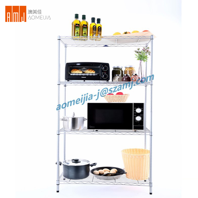 Multi purpose 5 tier chrome kitchen stainless steel wire shelves