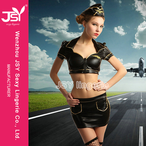 Mature Women Adult Black Leather Sexy Air Adult Shop Hostess Costume Lingerie Cospaly air Stewardess Uniform