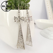 Korean jewelry antique palace bow metal earrings hollow triangle pattern fashion cheap price women drop earrings