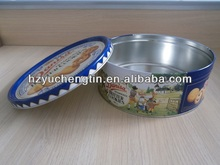 small shallow round metal cookie tin box