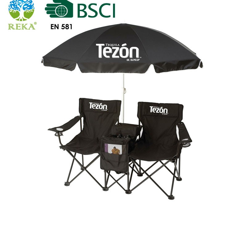 Double Seat Folding Chair With Umbrella Buy Folding Double Seat Camping Cha