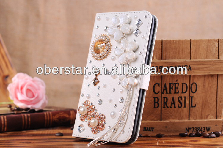 bling diamond leather flip cell phone protector case cover for samsung galaxy grand duo