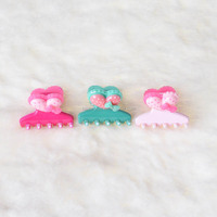 Round pattern hair claw clip kids heart shape with colorful bow hair claw clip.