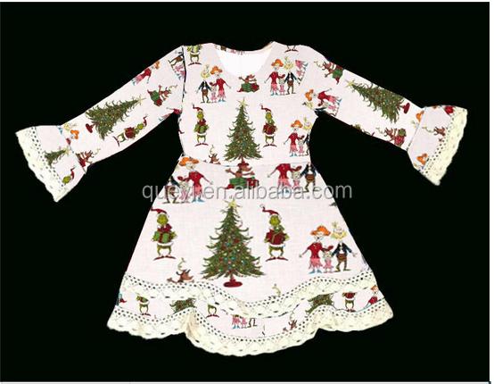 new design baby girls dress fall children clothing christmas girls dress tree pattern boutique christmas dress kids frock