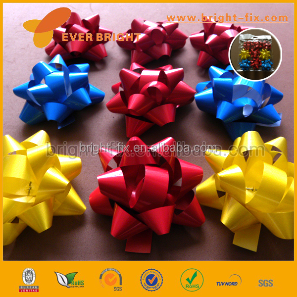 PVC Glitter ribbon /plastic ribbon star bow,decorative bow,wrap gift packing bow