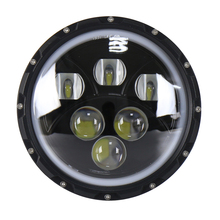 Black H4 H13 Adaptor LED Car Light 60W LED Round Offroad Headlight with Angel Eye for Jeep