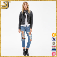 Elegant formal black winter leather jacket for women, winter casual leather motorbike jackets