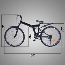 "New 26"" Folding 6 Speed Mountain Bike Bicycle School Sport Black used sports bicycles"