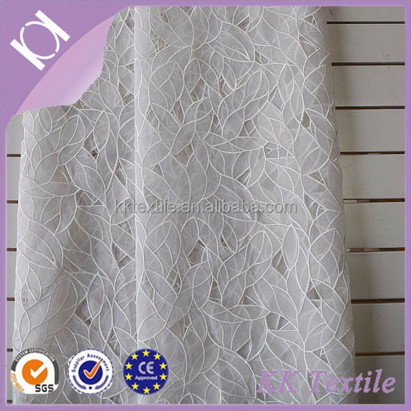 NO.749 White leaves design lace style 100% Polyester organza fabric cotton cord leaves embroidery ladies clothes fabric