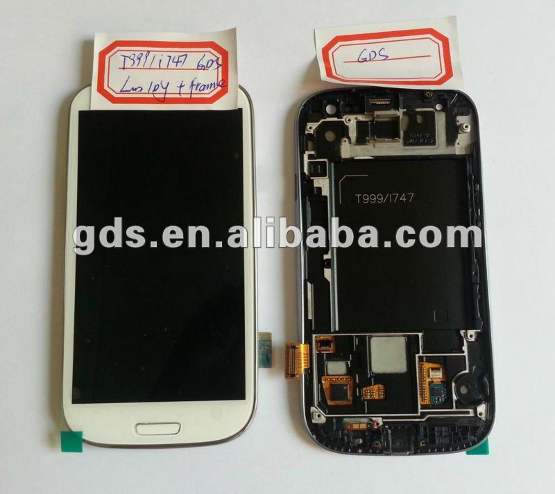 For samsung Galaxy SIII 3 i9300 T999 i747 Lcd/Digitizer with Frame(black,white,red)