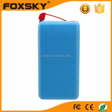 Portable power bank 4000mah power bank build in dual USB cable for cell phone