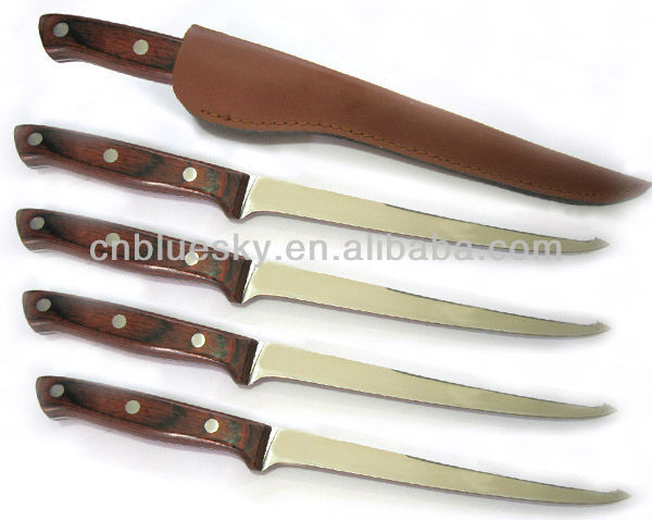 Fixed blade wood handle fillet knife with sheath