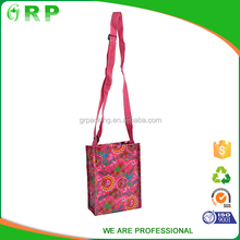 ISO/BSCI Europe standard pink girl adjustable shopping reusable bag woven