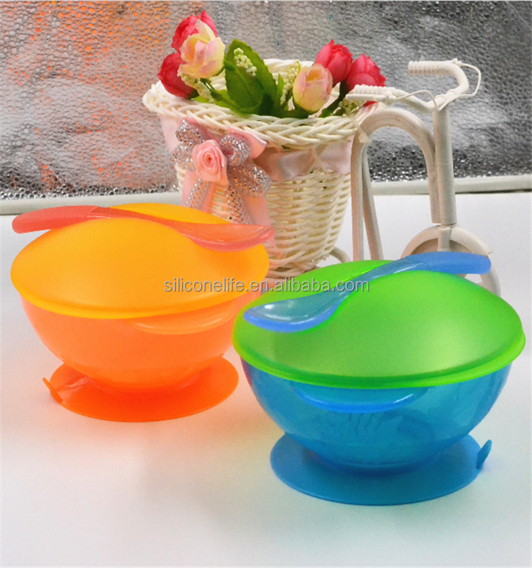 New Design BPA Free Baby Suction Bowl Warming Plate Feeding Set with Spoon