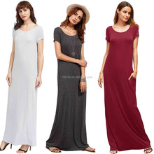 new model casual long dresses Women's Short Sleeve Loose Casual Plain floor length Maxi long dress muslim casual