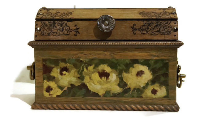 Oil Painted Decorative Treasure Chest