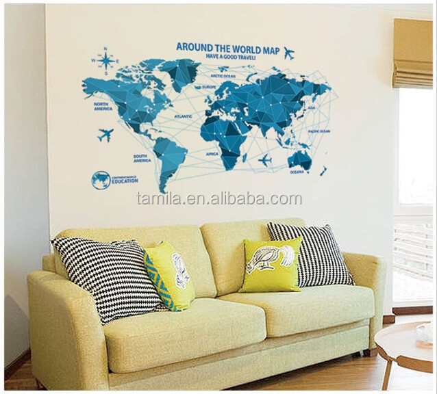 2016 new design world map PVC adhesive sticker for wall decor