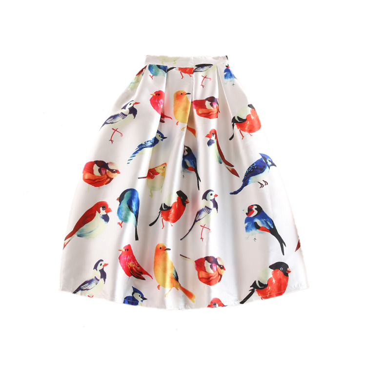 Hot Summer Autumn Skirts 2017 New Fashion Runway Brand Colorful Birds Printed Midi Pleated Skater Tutu Flared Skirt Saia Lapis