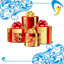 Gold color metallic paper laser cut packaging gift boxes with ribbon wholesale and retail free logo name for christmas
