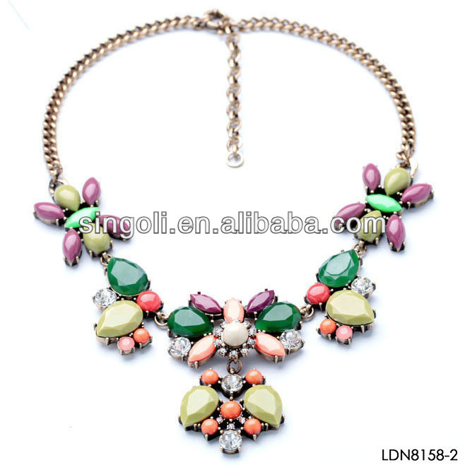 Bright candy color gemstones overlay necklace California fashion jewelry hot sale on aliexpress