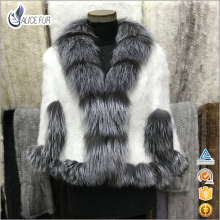 High Fashion Knitting Patterns Genuine Silver Fox Fur Trim White Mink Fur Stole / Capes for Girls and Women
