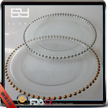 Lead Free Wholesale Kitchenware Big Size Gold Beaded Glass Plate