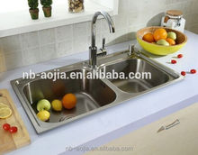 double bowl stainless steel kitchen wash basin