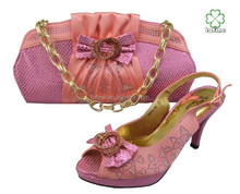 2015 wholesale high quality pink italian shoes and bags to match women