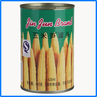 canned young corn vegetables in tin