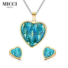 Fashion resin jewellery, gold plated stainless steel heart shaped pendant necklace with earring jewelry set
