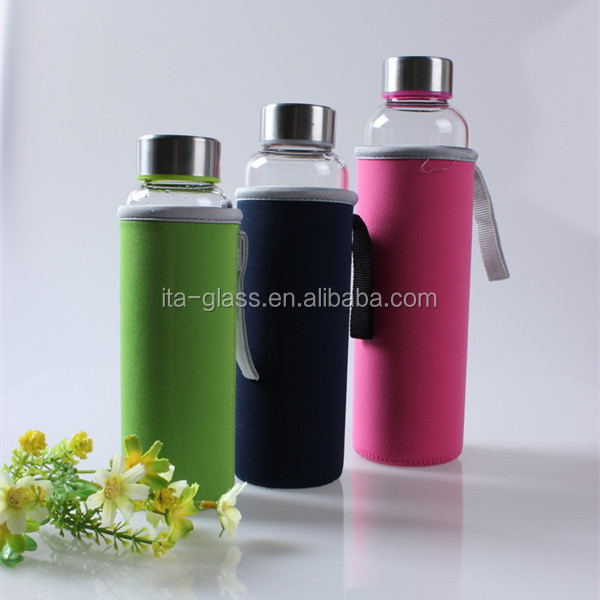 food grade heat reisistant protein mineral water glass drinking bottle personalized water proof sleeve glass sport water bottle
