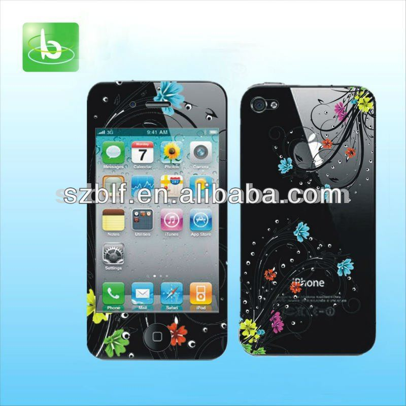 Full body skin colorful color screen protector for iphone 4S 4G