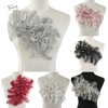 Embroidery Lace Fabric 3D Rhinestone Flower Lace Collar Sewing Accessoires DIY Lace Neckline Clothing Applique Sewing