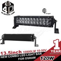 New 13.5 inch 120W OSRAM led light bar,5w chip,off road 4x4 use spot beam