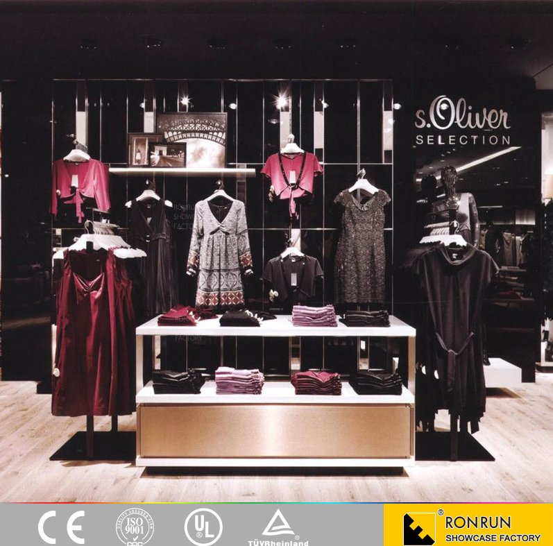 Modern lady clothes shop interior clothes display furniture custom made stainless steel display shelf and display rack
