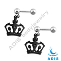 stainless steel ear tragus piercing anodized black crown figure dangling