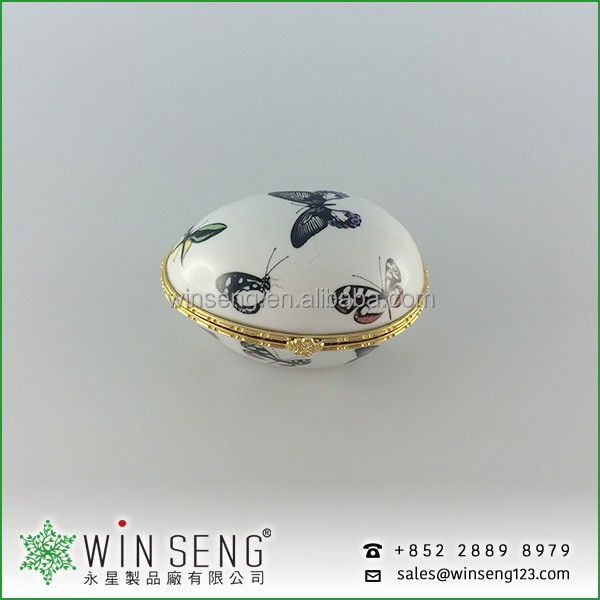 Porcelain egg shape butterfly jewelry box