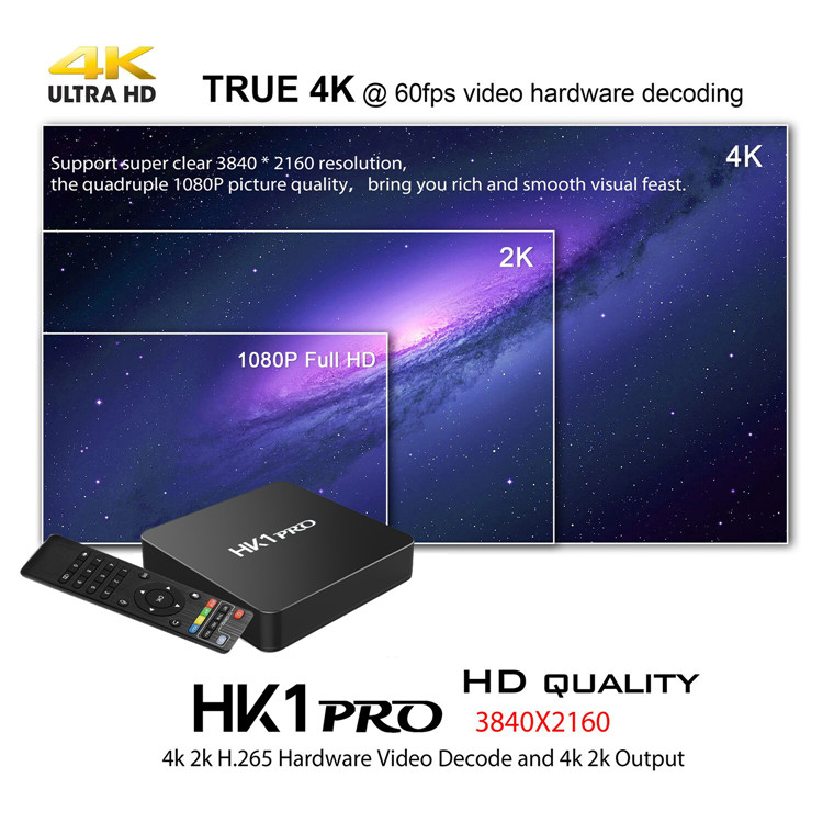 Factory sale HK1 PRO S905X2 HD 2.1 1080P 60fps android 8.1 smart tv set top box Supporting Youtube X96