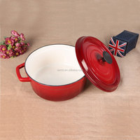 Morden kitchen shallow Enamel Cast Iron soup pot / saucepan / fondue