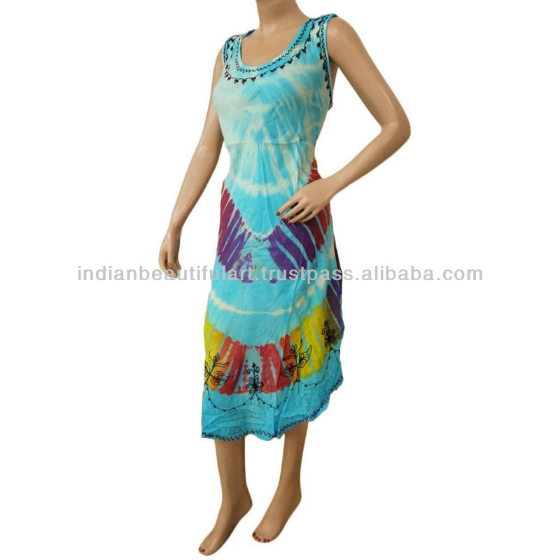 Embroidery Hippie Sundress Indian Women Cotton Blend Umbrella Blue Wrap