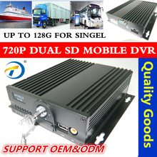 Hd 720 p / 960 p car video recorder 12V - 24 4ch double SD card mobile dvr