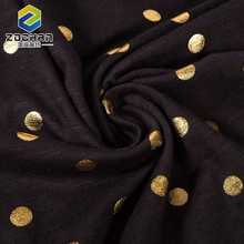 Knit Modal Jersey Slub Knitting Cotton Gold Foil Printing Fabric