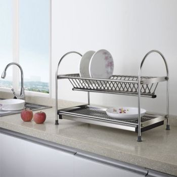 Free Standing Dual-tier Metal Dish Rack with Draining Plate,Kitchen hardware