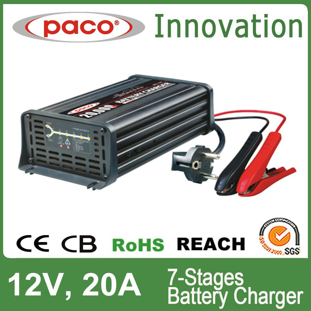 Desulphation battery charger 12V 20A,7 stage automatic charging with CE,CB,RoHS certificate